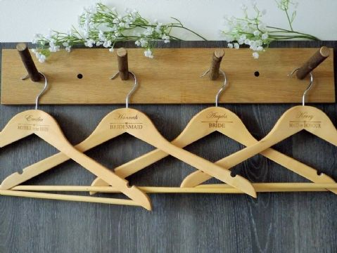 Personalised Wooden Bridal Wedding Hangers Set of 7 - Heart